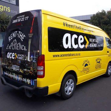 Ace Rental Van signage